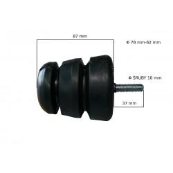 Odbój gumowy ze śrubą M10 wym:H87mm Fi:78mm-62mm