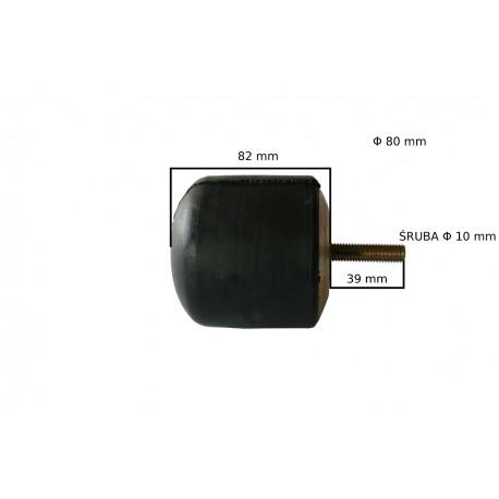 Odbój gumowy z blachą  ze śrubą M10 wym:H82mm Fi:80mm